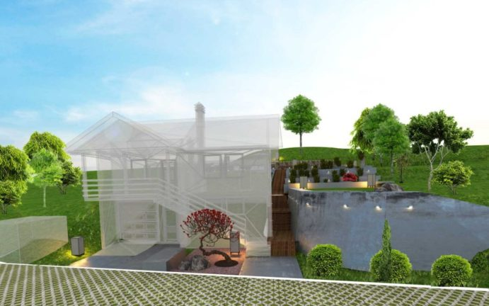Pejzažno uređrenje, landscape design, projektni biro mali gradjevinar vizualizacija